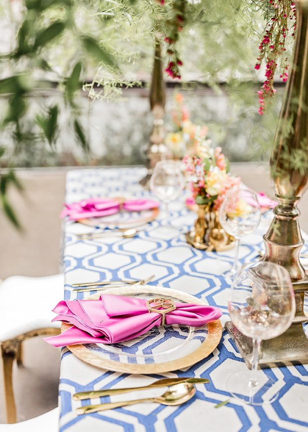 Modern Meets Glamour Wedding Tablescape With Colorful Spring Vibes - Photography: Sarah Casile Weddings