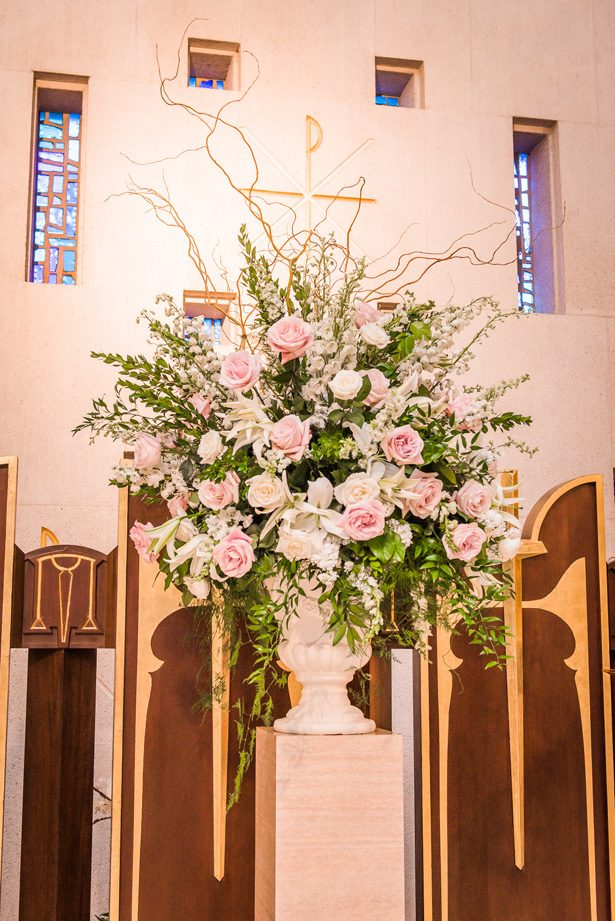 Pink Wedding ceremony flowers -Classic Blush Wedding at The Houston Club - Nate Messarra Photography