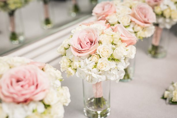 Pink and white wedding bouquets - Classic Blush Wedding at The Houston Club - Nate Messarra Photography