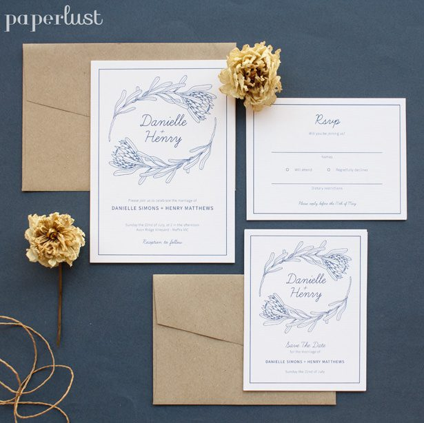 Rustic Wedding Invitations by Paperlust - playful proteas