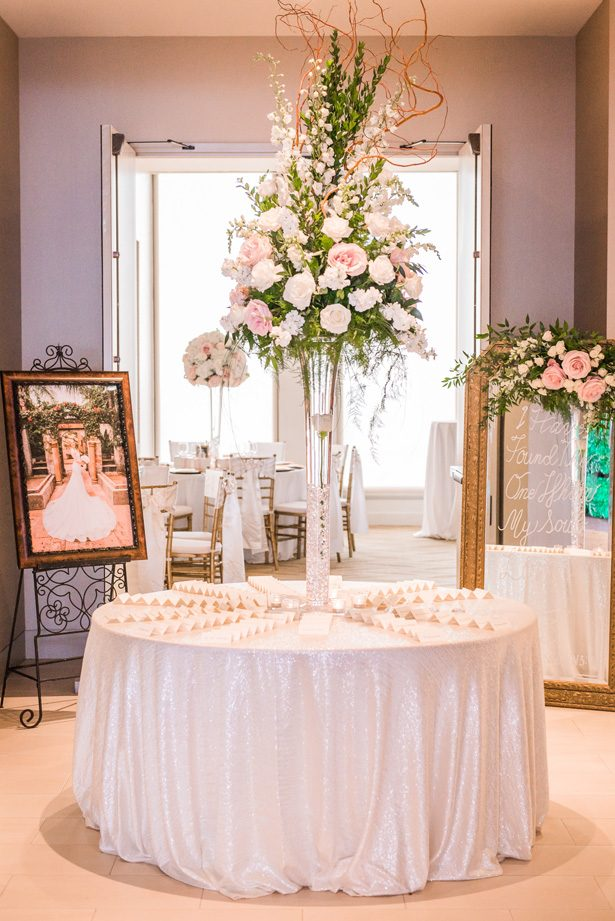 Tall wedding centerpiece with pink and white flowers - Classic Blush Wedding at The Houston Club - Nate Messarra Photography
