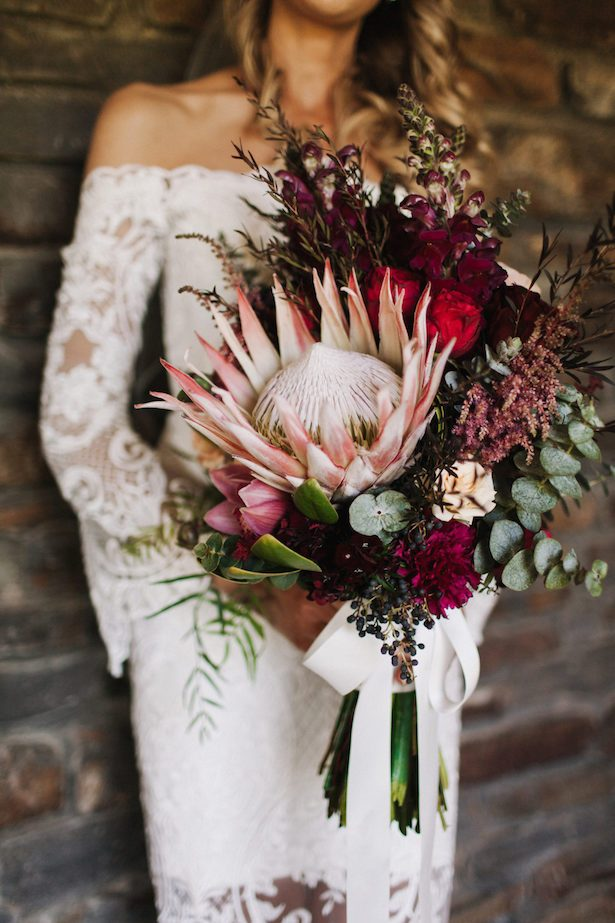 blush and burgundy bouquet with giant king protea - Photography: House of Lucie