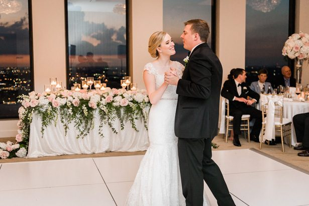 Wedding first dance - Classic Blush Wedding at The Houston Club - Nate Messarra Photography