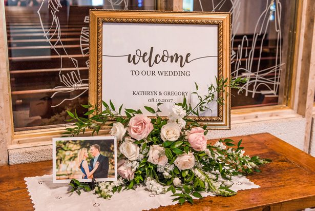 Wedding sign - Classic Blush Wedding at The Houston Club - Nate Messarra Photography