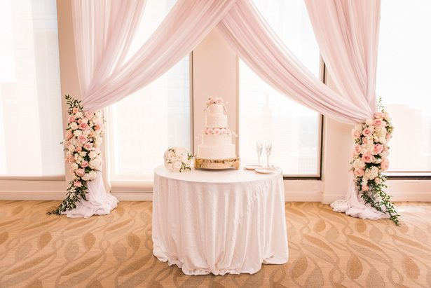 White and pink wedding cake table decor - Classic Blush Wedding at The Houston Club - Nate Messarra Photography