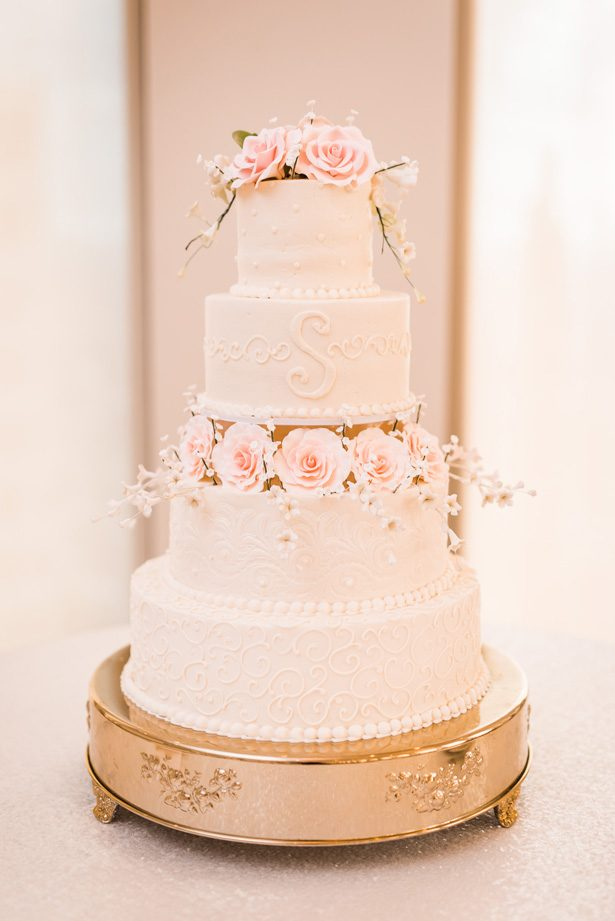 White buttercream wedding cake with pink sugar flowers - Classic Blush Wedding at The Houston Club - Nate Messarra Photography