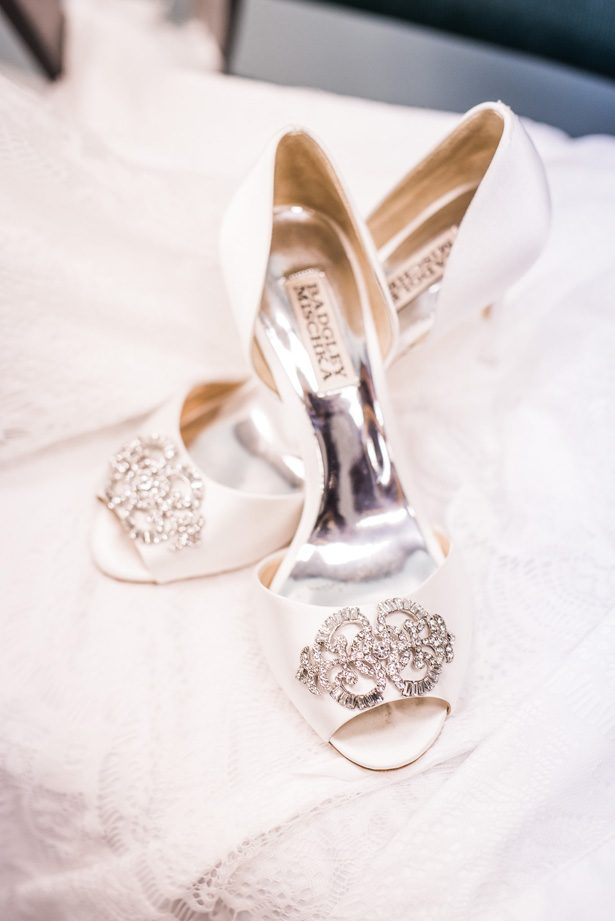 White wedding shoes - Classic Blush Wedding at The Houston Club - Nate Messarra Photography