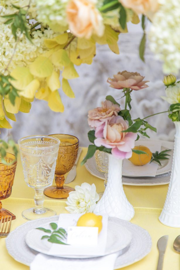 Yellow wedding tablescape details - Photography: Szu Designs, Inc