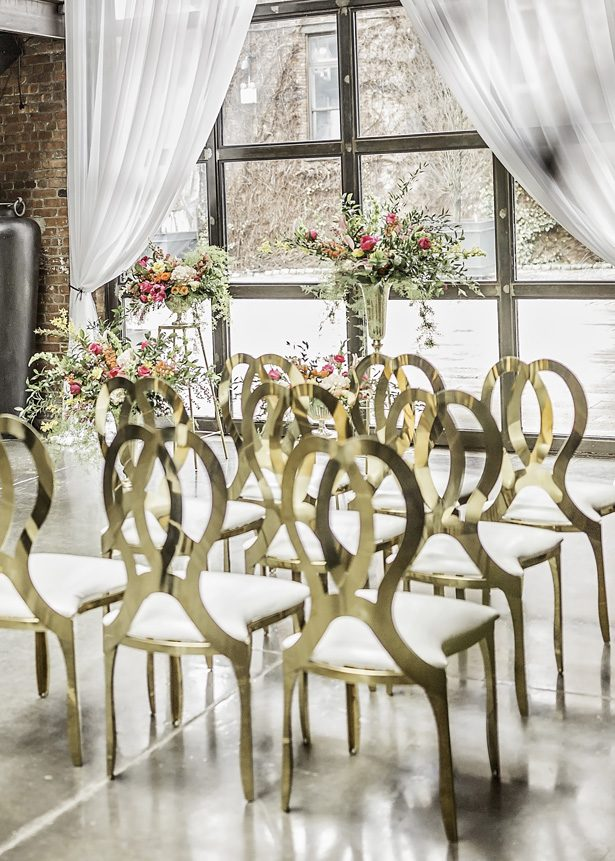custom gold wedding chairs - Sarah Casile Weddings