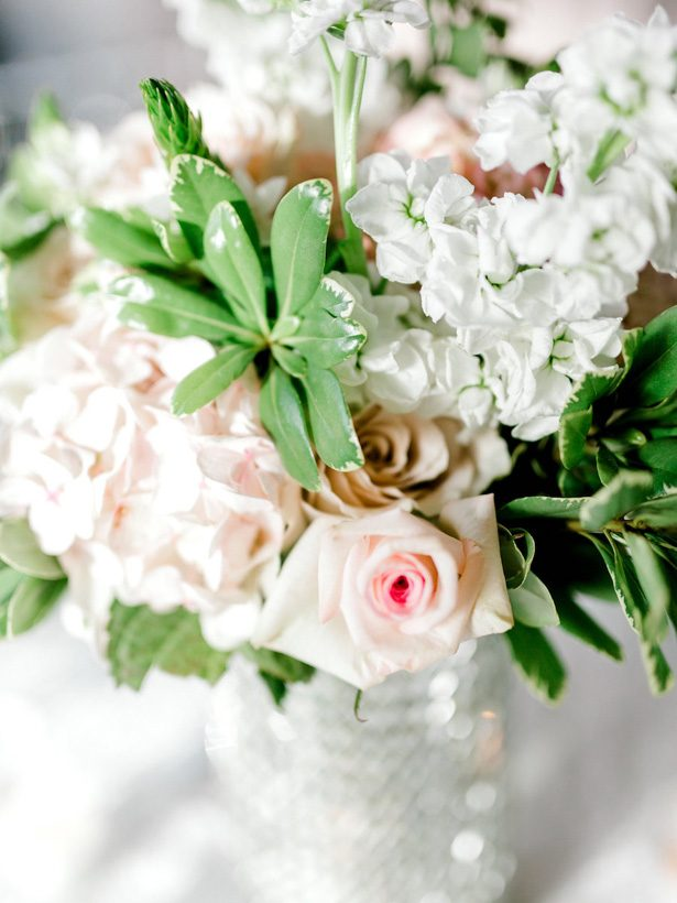 hydrangea and rose wedding centerpiece - Sarah Nichole Photography