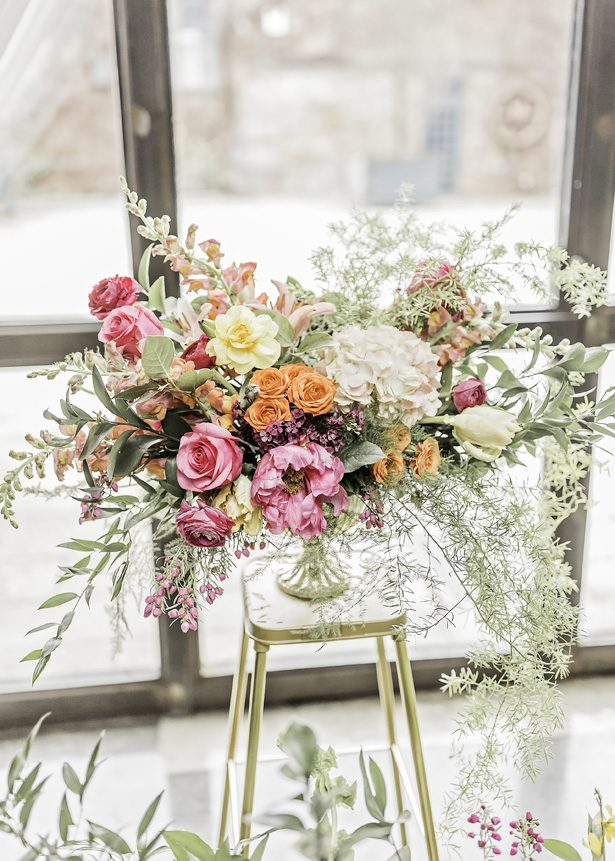 Modern Meets Glamour Wedding Centerpiece with Colorful Spring Vibes - Sarah Casile Weddings