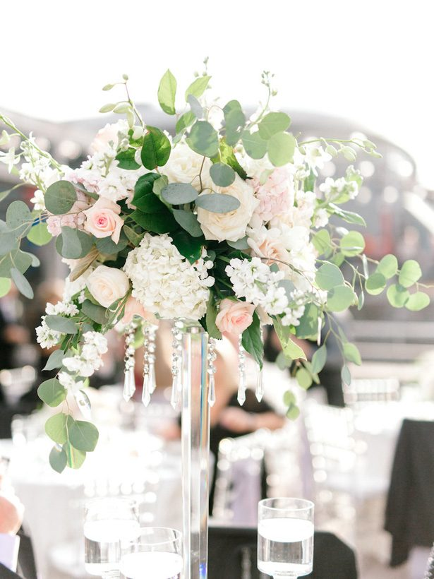 tall hydrangea and rose wedding centerpiece - Sarah Nichole Photography