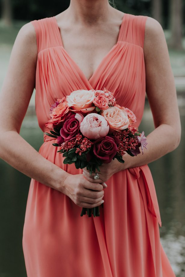 Corral bridesmaid dress and bouquet - Kelli Wilke Photography