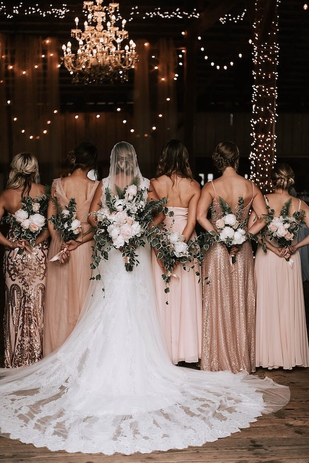 Rustic Long Rose Gold Bridesmaid Dresses - Nicole Briann Photography