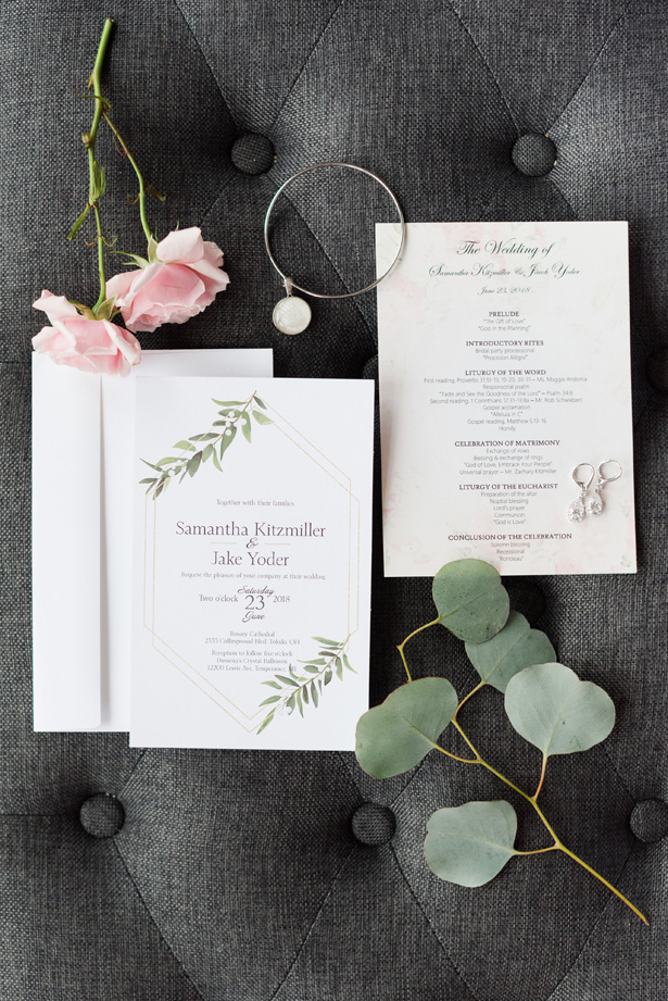 Silver accented wedding invitations - Amanda Collins Photography