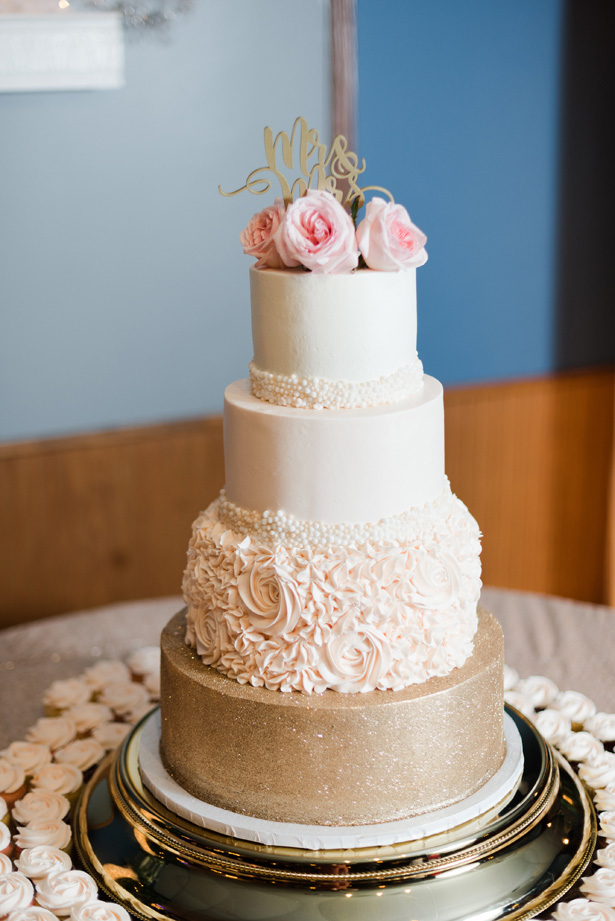 Wedding cake with pink roses - Amanda Collins Photography
