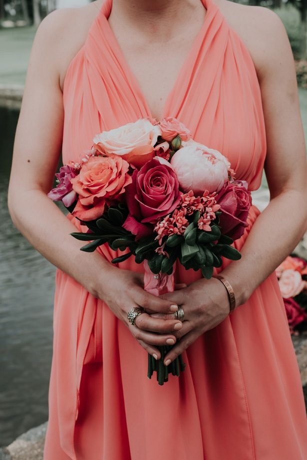 bridesmaid coral bouquet and dress - Kelli Wilke Photography