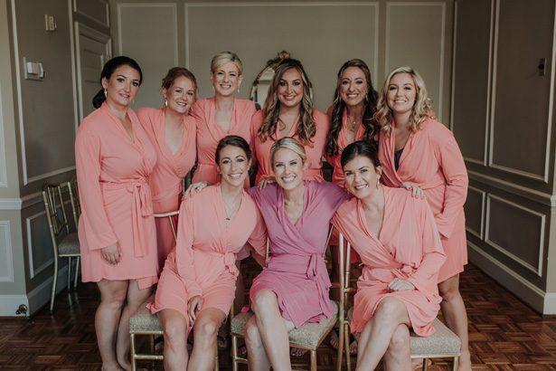 coral bridesmaid robes - Kelli Wilke Photography