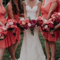 coral inspired bridal party - Kelli Wilke Photography