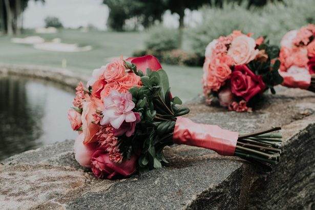 coral wedding bouquet - Kelli Wilke Photography