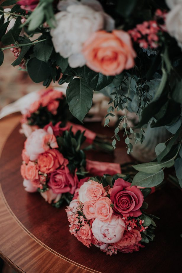 coral wedding bouquets - Kelli Wilke Photography