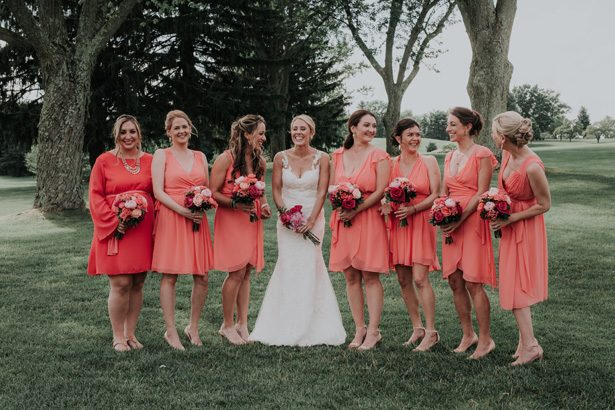 coral wedding party - Kelli Wilke Photography