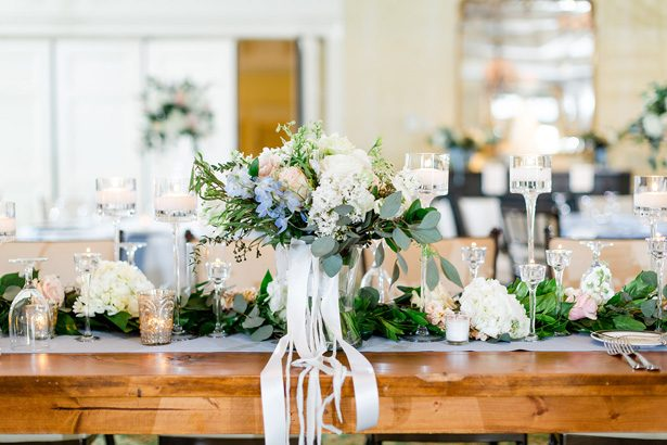 long wood wedding table - Luke & Ashley Photography