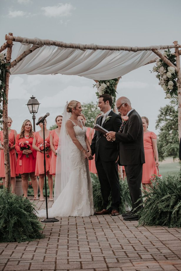 wood wedding canopy with draping - Kelli Wilke Photography