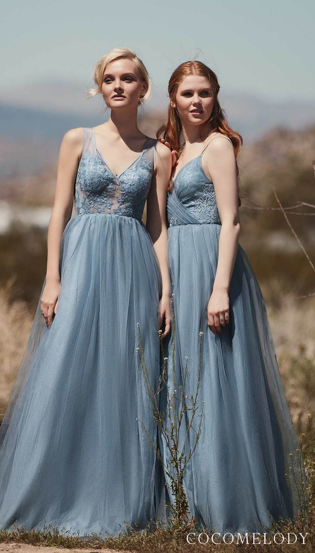 Dusty Blue Bridesmaid Dresses by Cocomelody 2020
