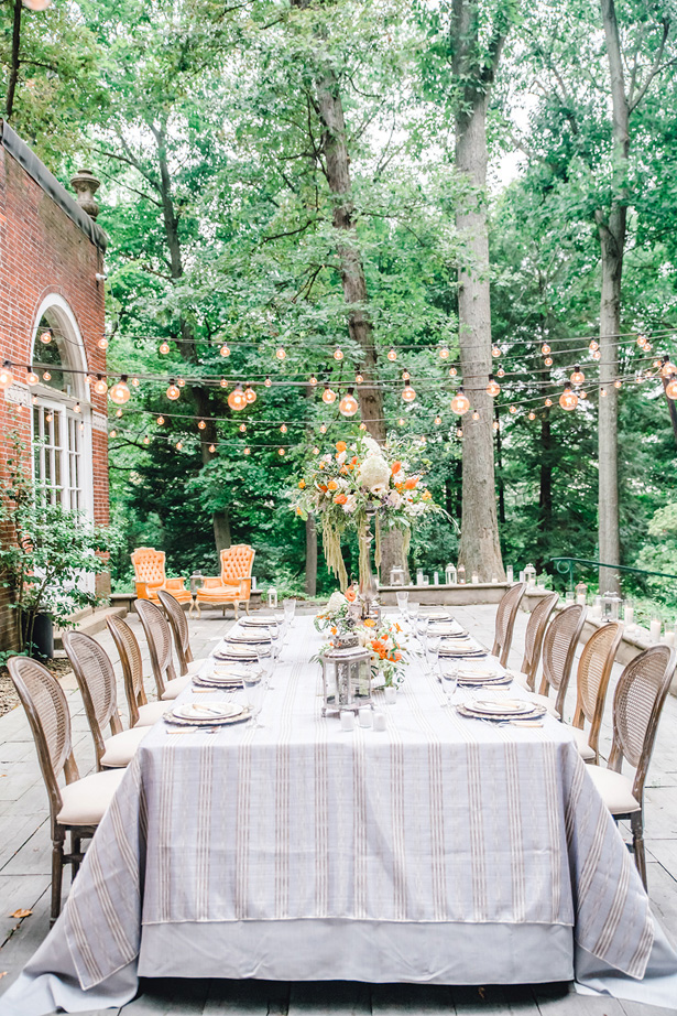 Garden Wedding Tablescape with orange Accents - Krystal Healy Photography