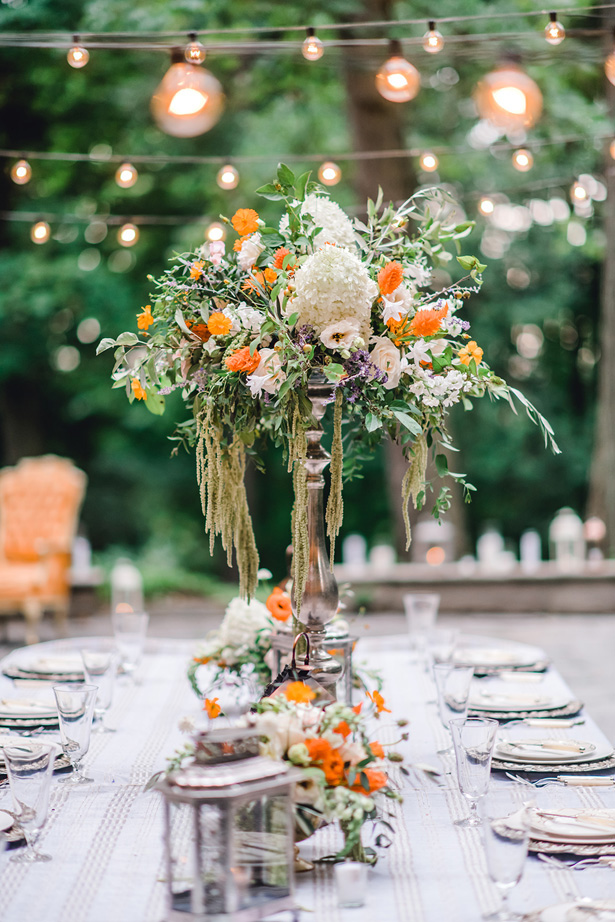 Garden Wild flower Wedding Table decorations - Krystal Healy Photography