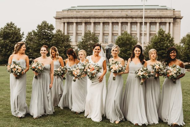 Long mismatched green pastel bridesmaid dresses  - Mann and Wife Photography