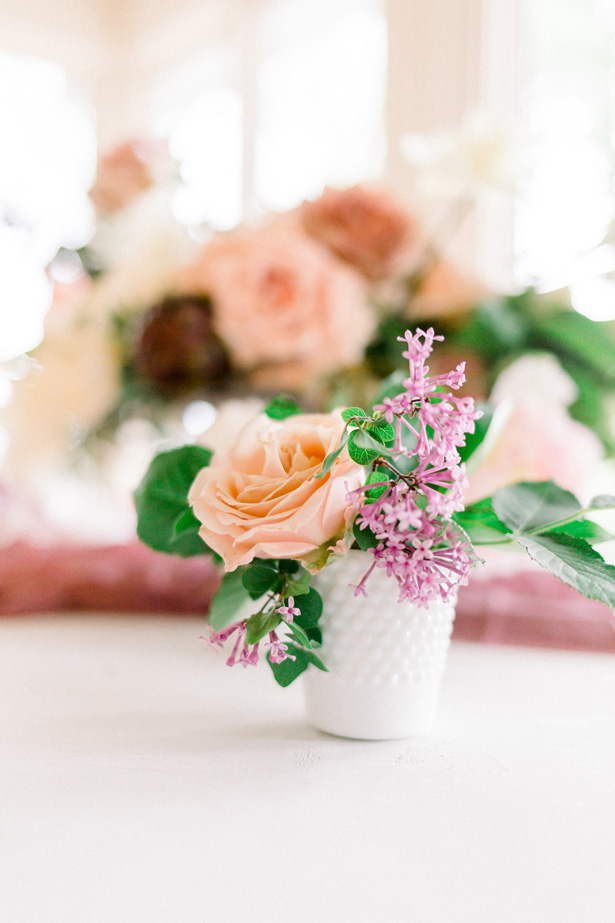Low pink wedding centerpiece - Mallory McClure Photography
