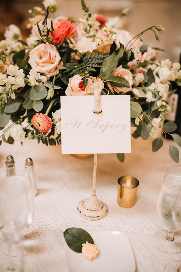 Low wedding centerpiece and table number - Mann and Wife Photography