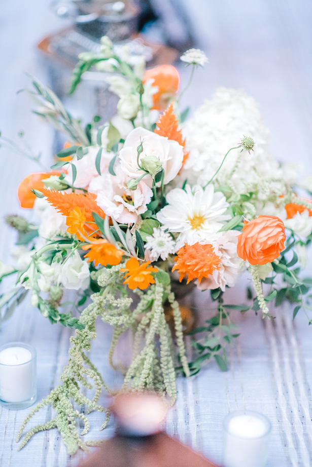 Orange Accented Wedding Flowers - Krystal Healy Photography