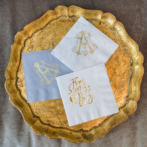 Personalized wedding napkins- Heather Durham Photography