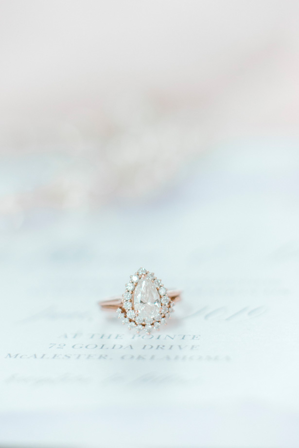 Rose gold pear engagement ring and wedding band - Bobbye Jean Photography
