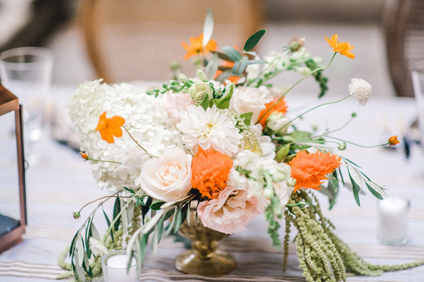 Short Wedding Table Centerpiece with Orange Accents - Krystal Healy Photography