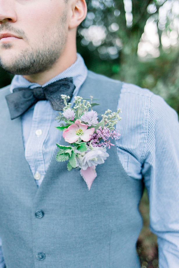 Spring wedding boutonniere - Mallory McClure Photography