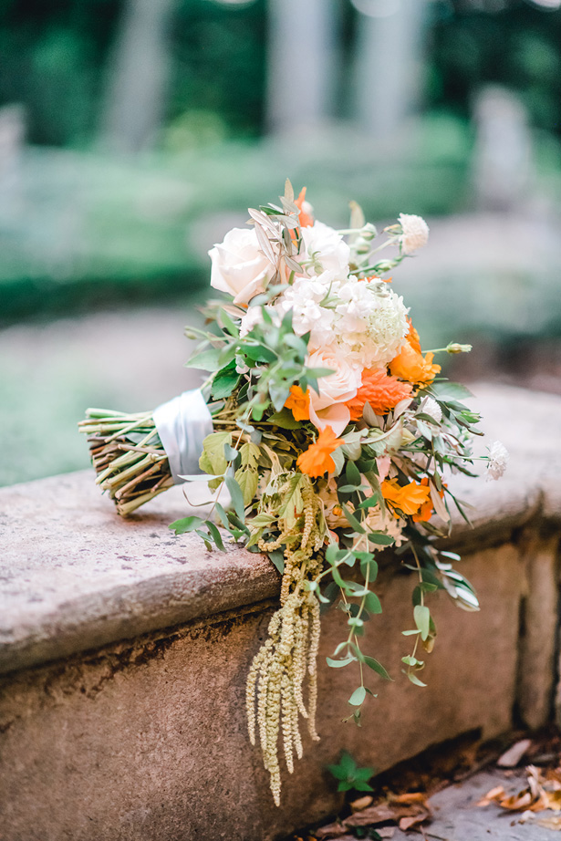 Orange Accented Wild Wedding Bouquet - Krystal Healy Photography