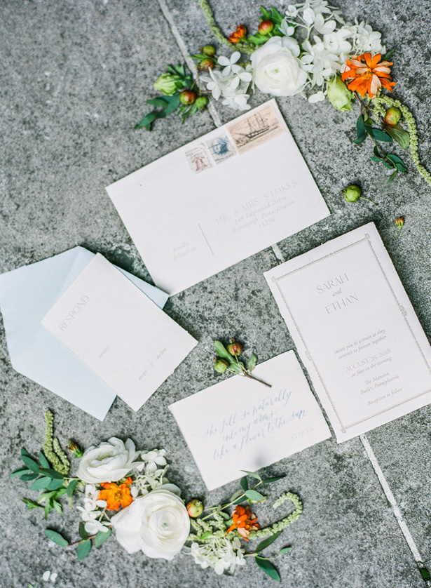 orange Accented Wedding invitations - Krystal Healy Photography