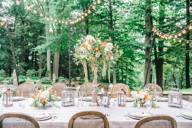 orange accented Wedding Table decor - Krystal Healy Photography