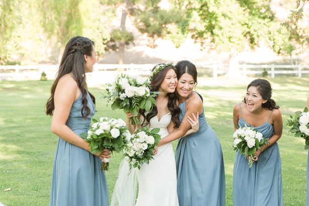 bridal party white rose bouquets - Theresa Bridget Photography