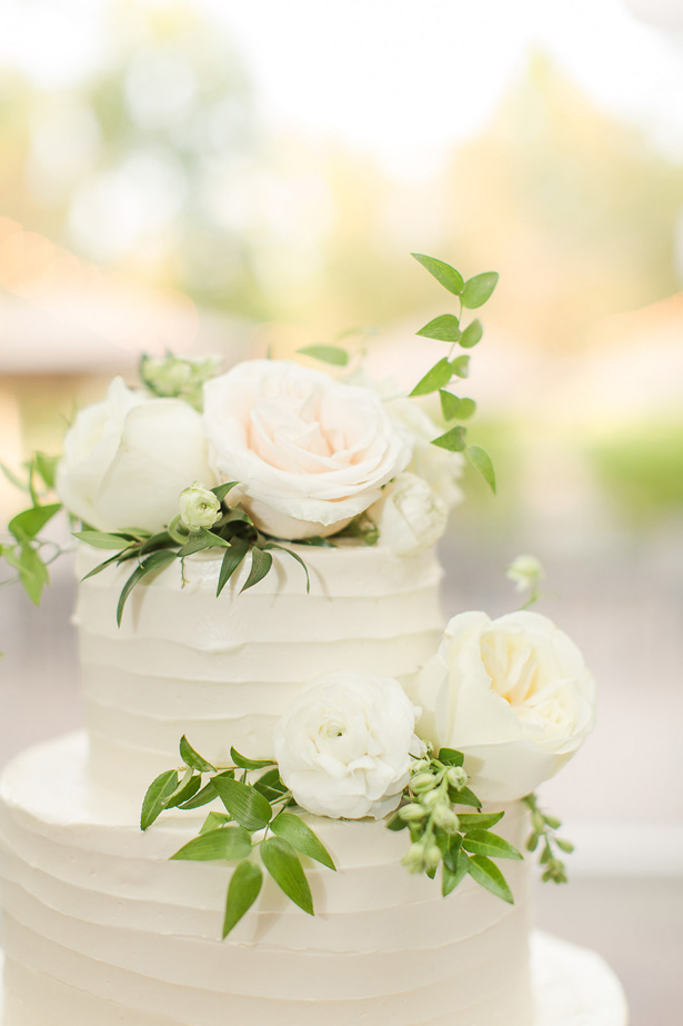 Chic Wedding Cake with White Roses - Theresa Bridget Photography