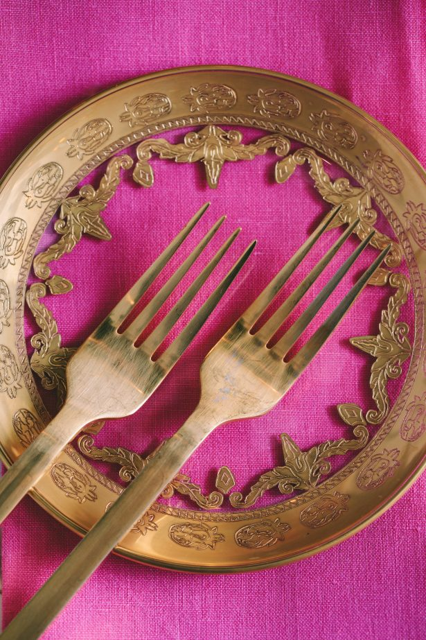 Luxury gold and pink place setting details with vintage antique silverware- George Pahountis Photographer