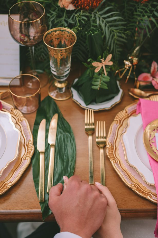Stylish Tropical Wedding Tablescape - George Pahountis Photographer
