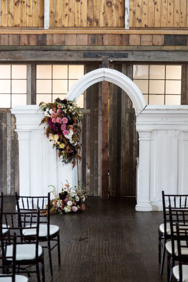 Vintage Wedding ceremony decor in an Industrial Space - Photography: Szu Designs, Inc