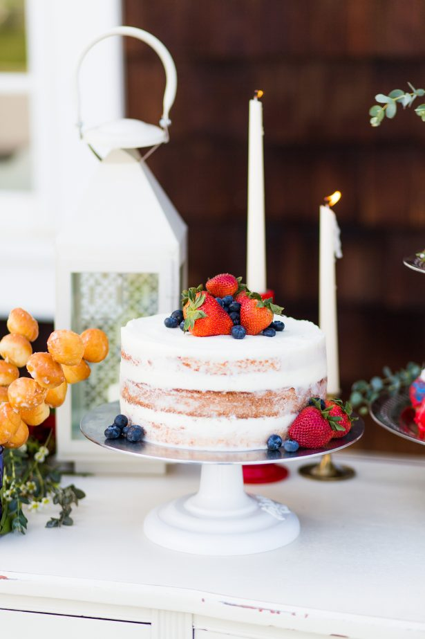 White naked cake with fresh fruit - Holley Elizabeth Photography