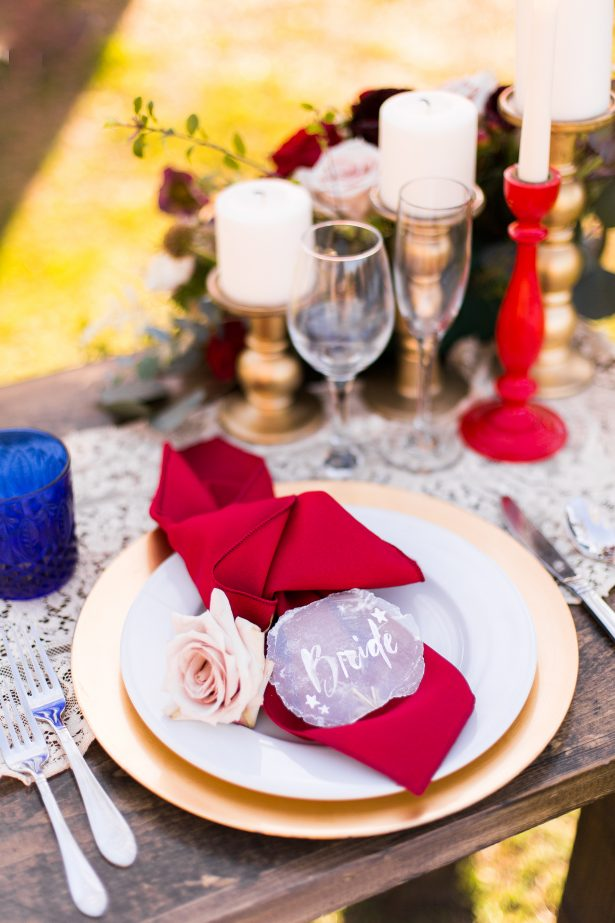 Burgundy and navy wedding place setting - Holley Elizabeth Photography