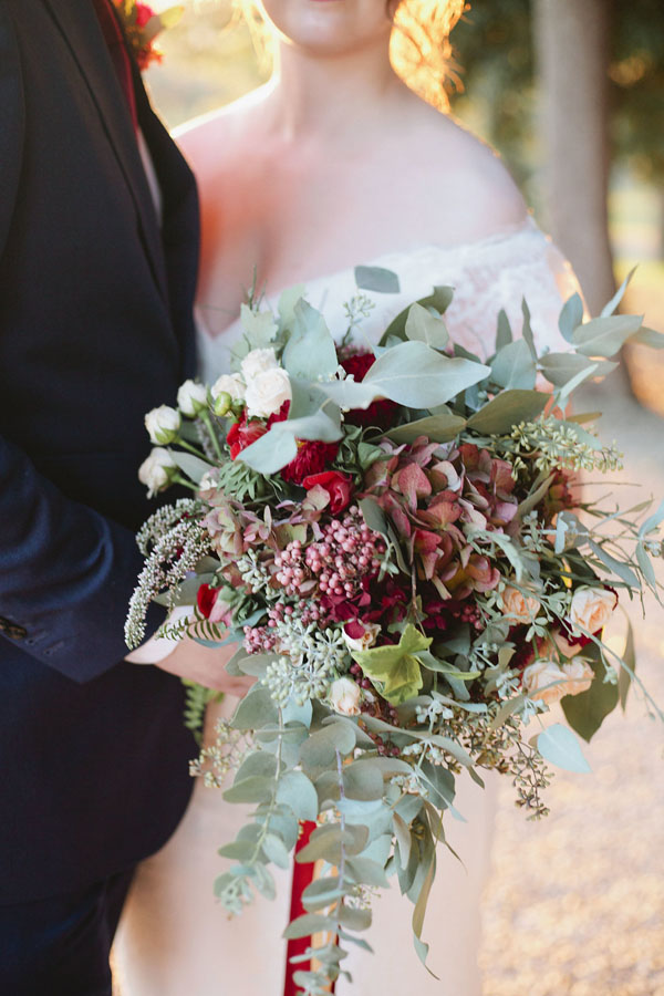 Fall wedding bouquet with burgundy flowers and greenery- Purewhite Photography